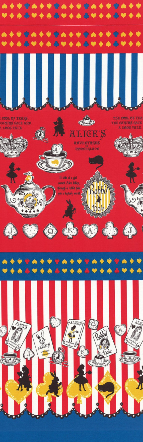 Judie's Cotton Alice in Wonderland Red, Yellow and Blue Single Border - Lecien