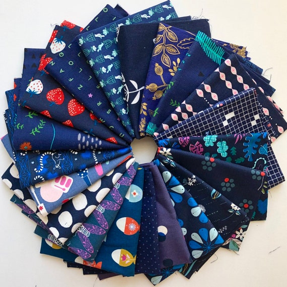 Cotton and Steel bundle of 20 navy fabrics as shown in photo