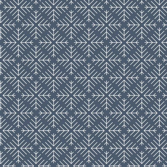 Curiosities by Jeni Baker for Art Gallery Fabrics - Caught Snowflakes Navy