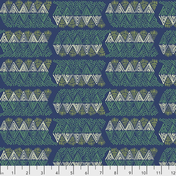 One Mile Radiant by Anna Maria Horner for Conservatory Chapter 3 with Free Spirit Fabrics- Fat Quarter of Mountain Streams in Verdant