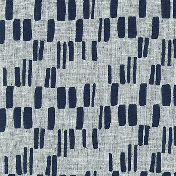 Quarry Trail by Anna Graham for Robert Kaufman, 100% Cotton Linen Canvas -- 25cm -- Trail Markers in Indigo