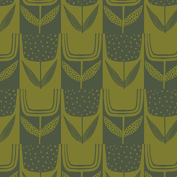Perennial by Sarah Golden for Andover Fabrics - Fat Quarter of Patchwork Tulips in Olive