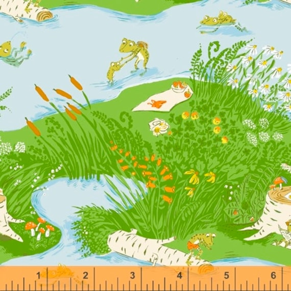 Heather Ross 20th Anniversary Collection for Windham Fabrics - Fat Quarter of Frog Pond in Blue