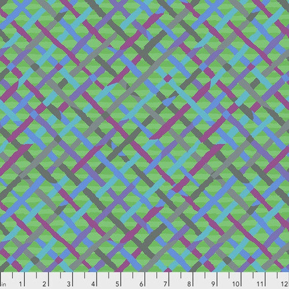 Kaffe Fassett Collective February 2020 -- Fat Quarter of Brandon Mably Mad Plaid in Green