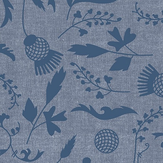 Ex Libris by Alison Glass Printed Chambray in Blue