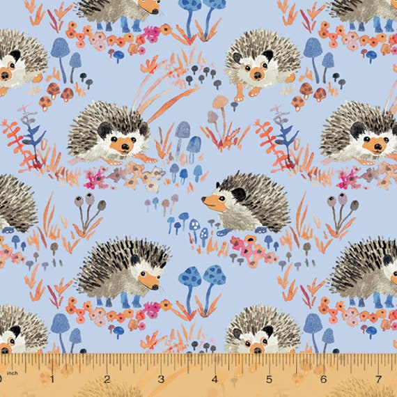 Fox Wood by Betsy Olmsted for Windham Fabrics - Fat Quarter of  43499A-4 Hedgehogs in Blue