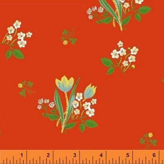Heather Ross Kinder for Windham Fabrics - Fat Quarter Spring Blooms in Red