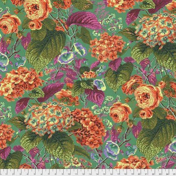 Kaffe Fassett Collective February 2020 -- Fat Quarter of Philip Jacobs Roses and Hydrangea in Green