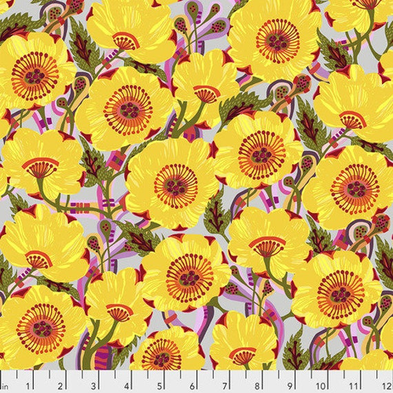 Shannon Newlin Vibrant Blooms -- Fat Quarter of Rose in Yellow