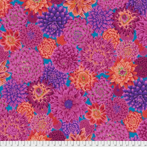 Kaffe Fassett Collective August 2020 -- Fat Quarter of Philip Jacobs Dancing Dahlias in Red