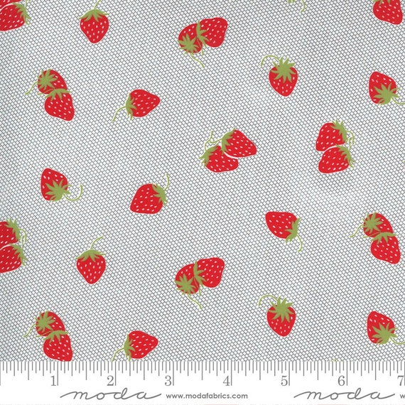 Sunday Stroll -- Strawberries in Grey (5223 17) by Bonnie and Camille for Moda -- Fat Quarter