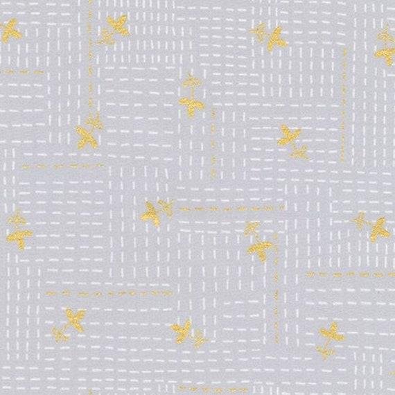 Robert Kaufman - Wayside by Karen Lewis - metallic stitch on grey (AWIM-18690-12)