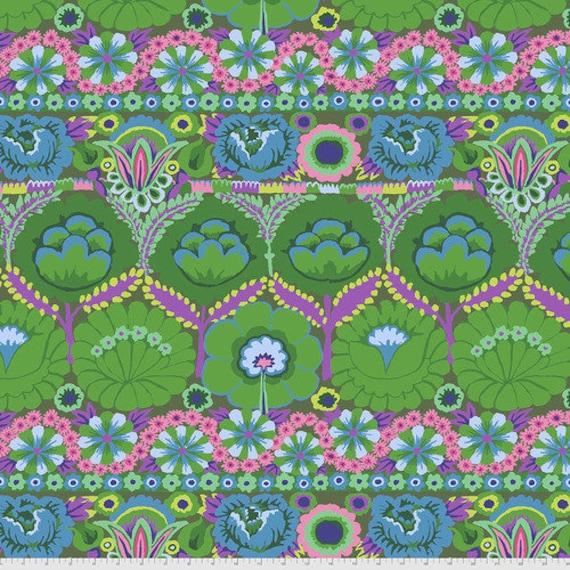 Kaffe Fassett Collective August 2021 -- Fat Quarter of Kaffe Fassett Embroidered Flower in Green