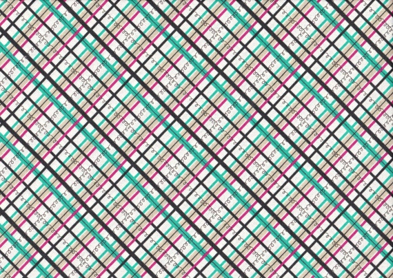 Lighthearted by Ayumi Takahashi for Kokka - Plaid in Teal and Pink
