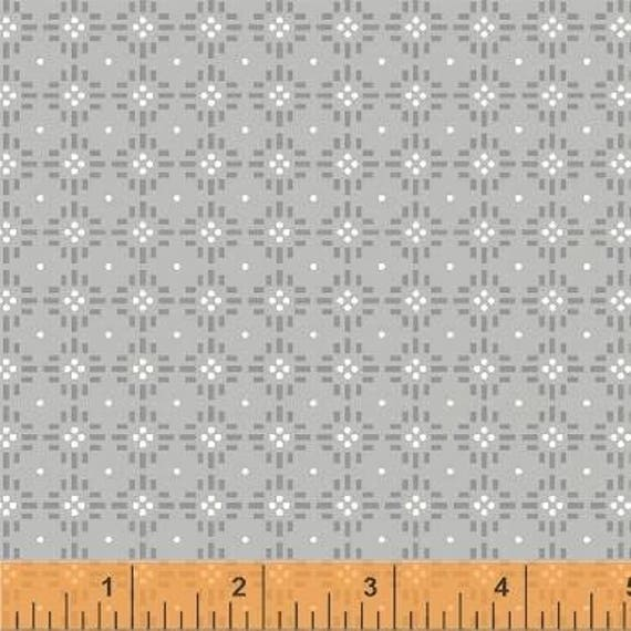 Uppercase Volume 2 by Janine Vangool for Windham Fabrics - Flower Stitch in Gray - Fat Quarter