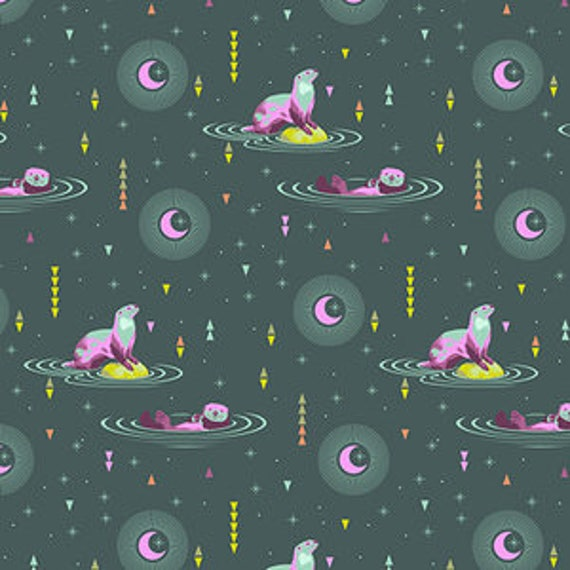Fat Quarter Otter and Chill in Lunar Glow - Tula Pink's Spirit Animal