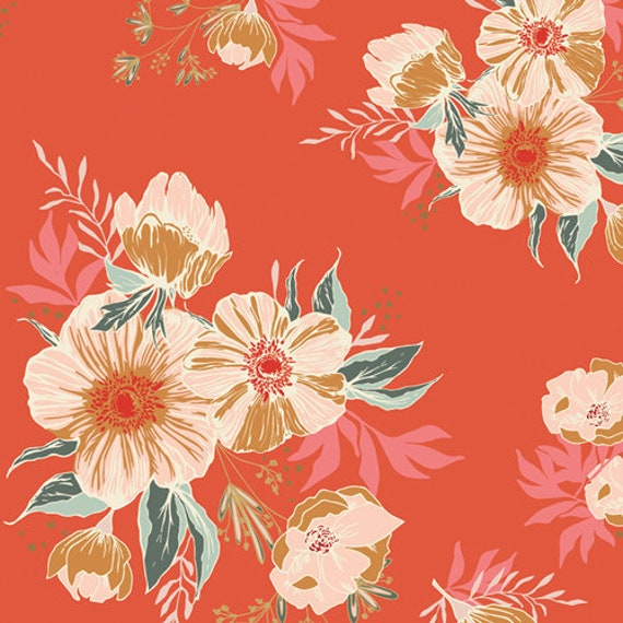 Art Gallery Cozy and Joyful Candied Roses in Rayon - Purchase in 25cm Increments