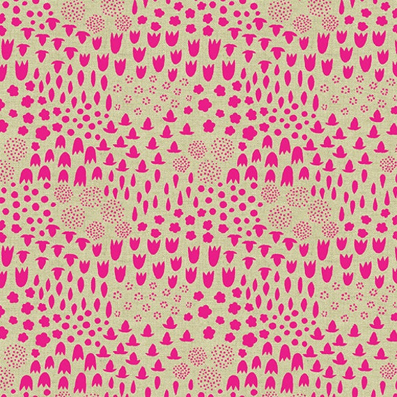 Tiger Plant by Sarah Golden for Andover Fabrics - Folk Floral in Neon -- Cotton/Linen - Fat Quarter