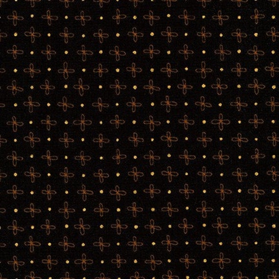 Robert Kaufman - Wayside by Karen Lewis - Gold Flower on Black (AWIM-18691-2)