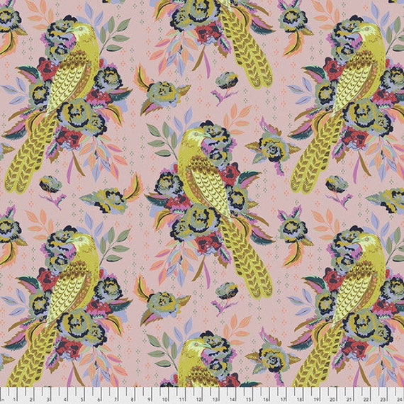 New Vintage by Kathy Doughty for Free Spirit Fabrics - Fat quarter of L'Oiseau in Puff