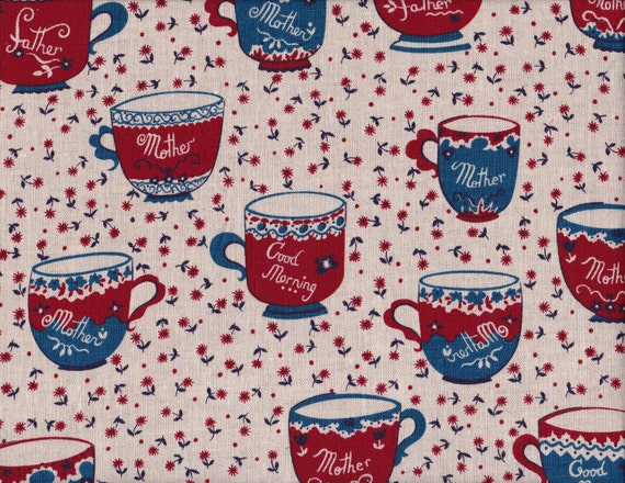Japanese 100% LINEN fat quarter by Kei - teacups in taupe, red and blue - wide width