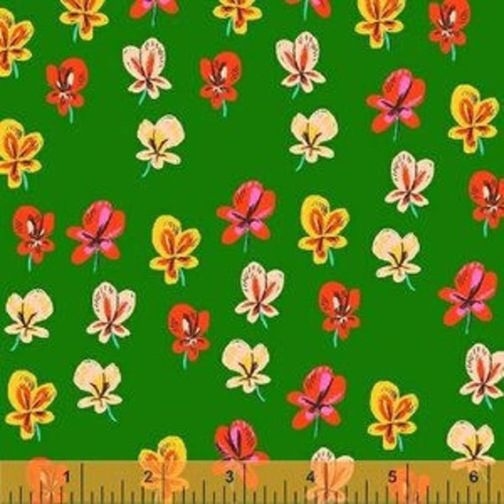 Heather Ross Sleeping Porch for Windham Fabrics - Fat Quarter Pansies in Green