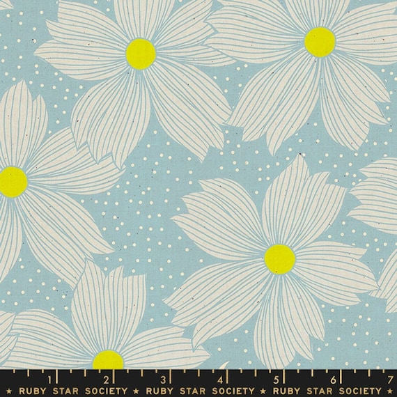 Crescent and Brushed -- Ruby Star Society Fabric, Crescent, RS2004-14 Soft Blue, Sarah Watts -- Fat Quarter