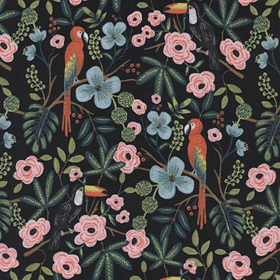 Menagerie -- Paradise Garden in Midnight by Rifle Paper Company for Cotton and Steel
