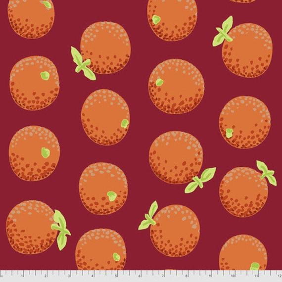 Kaffe Fassett Collective August 2021 -- Fat Quarter of Kaffe Fassett Oranges in Maroon