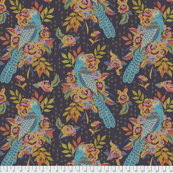 New Vintage by Kathy Doughty for Free Spirit Fabrics - Fat quarter of L'Oiseau in Current