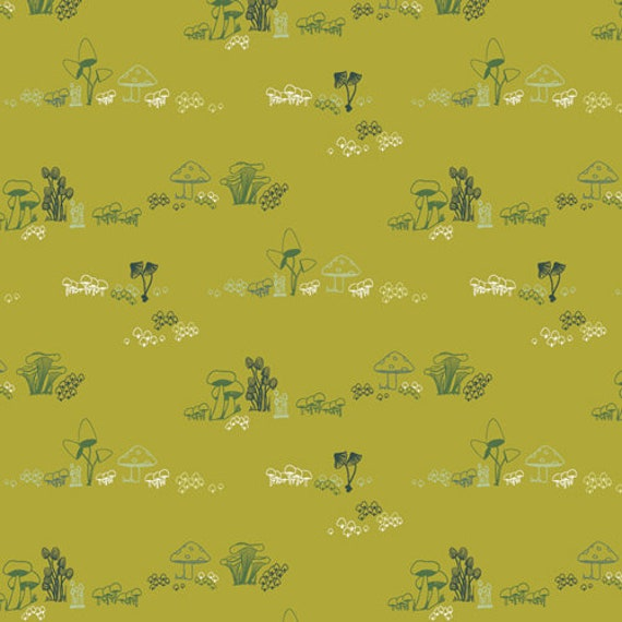 Dew and Moss by Alexandra Bordallo for Art Gallery Fabrics - Fat Quarter of Gnomes Mushroom Homes