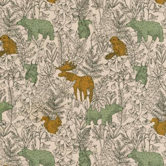 Bear Moose Cotton Flax Fabric in  Natural Colour by Robert Kaufman = 25cm increment cut