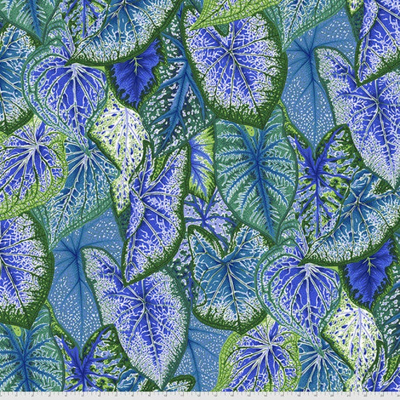 Kaffe Fassett Collective August 2021 -- Fat Quarter of Philip Jacobs Caladiums in Blue