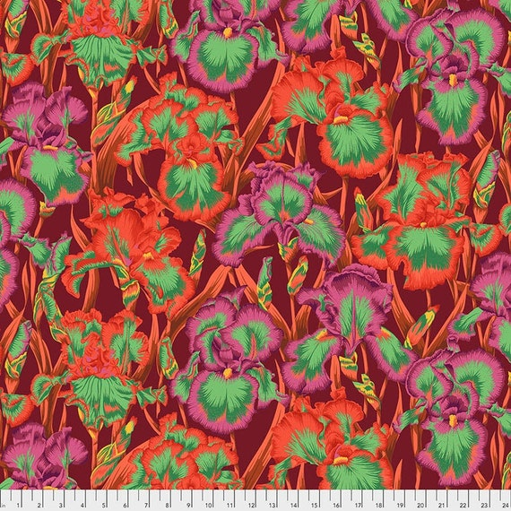 Kaffe Fassett Collective August 2020 -- Fat Quarter of Philip Jacobs Bearded Iris in Red