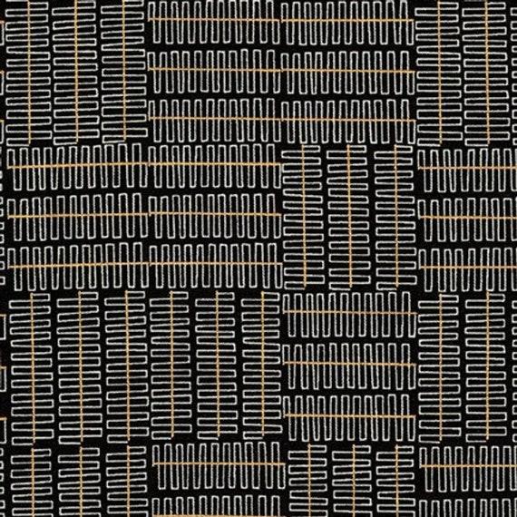 Robert Kaufman - Wayside by Karen Lewis - Grey grid pattern on black (AWIM-18692-2)
