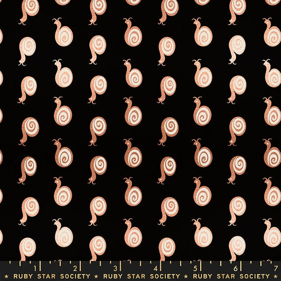 Liana-- Ruby Star Society Fabric, RS3011-20M  Snaily in Metallic Black by Kimberly Kight -- Fat Quarter