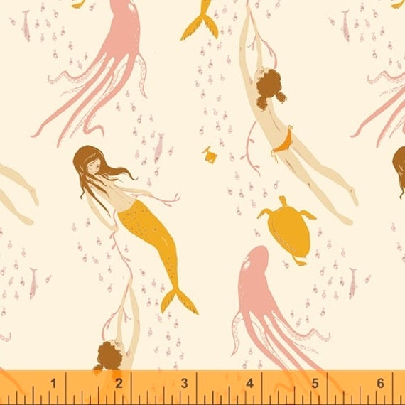 Heather Ross 20th Anniversary Collection for Windham Fabrics - Fat Quarter of Underwater Sisters in Blush Pink