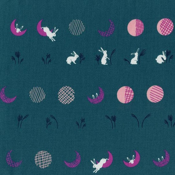 Mochi -- Moon Bunnies in Teal by Rashida Coleman Hale for Cotton and Steel
