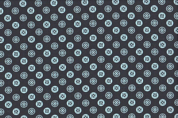 Japanese cotton fat quarter by Kei - Geobuttons in navy blue