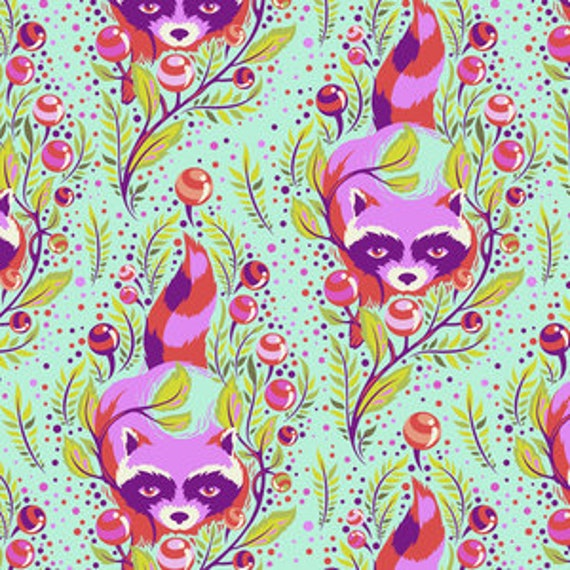 Fat Quarter Raccoon in Poppy  - Tula Pink's All Stars Fabric for Free Spirit Fabrics