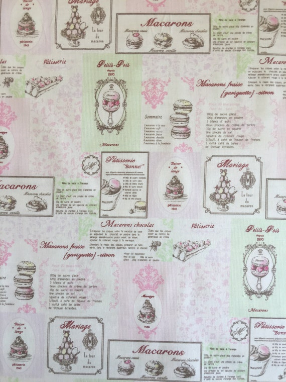 Japanese cotton fat quarter by Yuwa - Macaron Recipes in pink and mint green