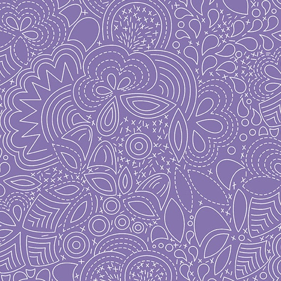 Hopscotch Century Prints by Alison Glass for Andover Fabrics - Fat Quarter of Stitched in Wisteria