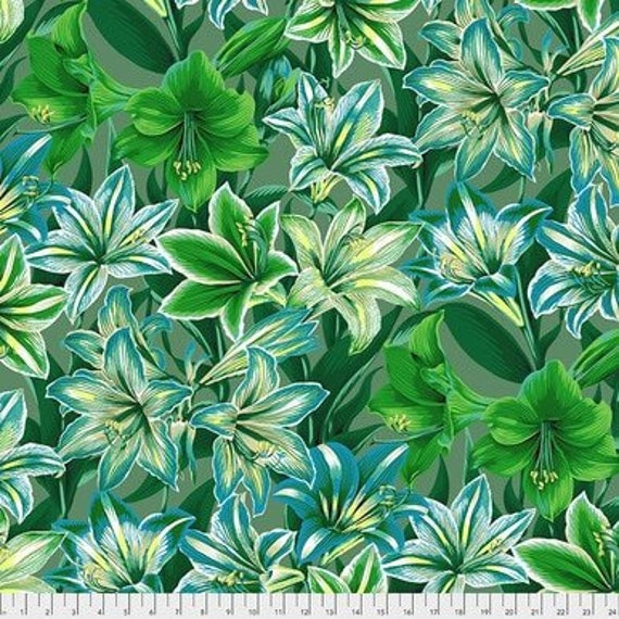 Kaffe Fassett Collective August 2020 -- Fat Quarter of Philip Jacobs Armaryllis in Green