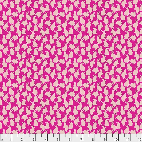 Woodland Walk by Nathalie Lete for Anna Maria Horner Conservatory - Fat Quarter of Mini Rabbits in Fuchsia