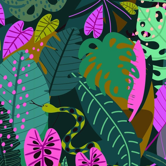 Night Jungle by Elena Essex for Dashwood Studio - Fat Quarter of Snakes and Leaves