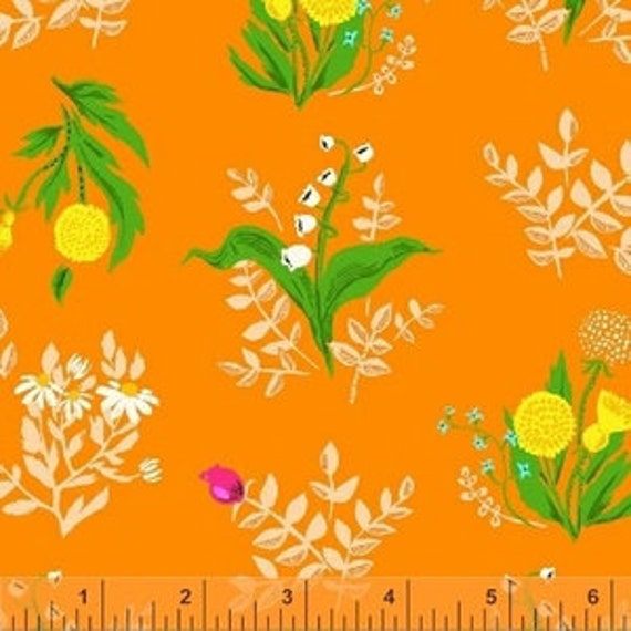 Heather Ross Sleeping Porch for Windham Fabrics - Fat Quarter Bouquet in Orange