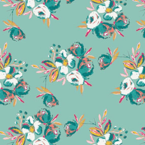 Wild Bloom by Bari J. Ackerman for Art Gallery Fabrics - Corsage Charm in Aqua - Fat Quarter