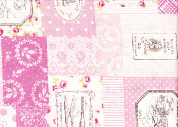 Japanese cotton fat quarter by Yuwa - sewing theme in cotton candy pink