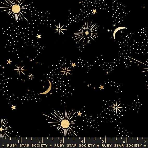 Florida Cosmos in Black RS2028 15M by Sarah Watts -Ruby Star Society - Fat Quarter