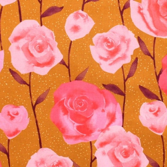 Firelight by Cotton + Steel Collaboration -- Fat Quarter of Roses in Caramel